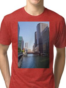 The Chicago River in downtown Chicago, Illinois, USA  Tri-blend T-Shirt
