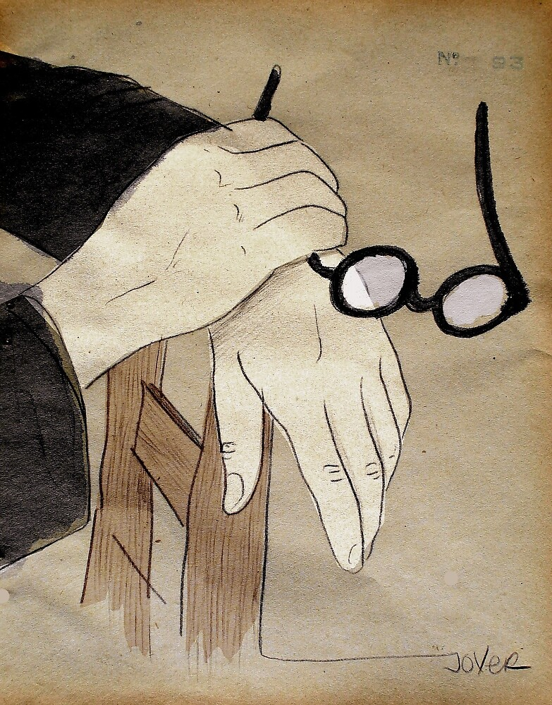 round spectacles and hands by Loui  Jover