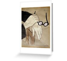 round spectacles and hands Greeting Card