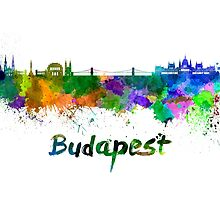 Budapest skyline in watercolor by paulrommer
