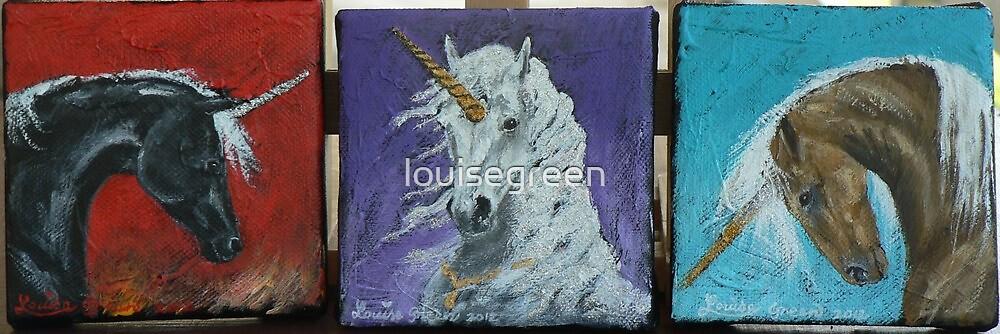 Unicorn Trio - BLACK CRYSTAL, JEWEL & AMBER by louisegreen