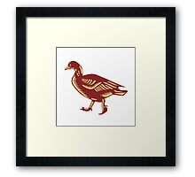 Duck Walking Side Woodcut Framed Print