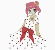 Cute girl with Strawberry dress Kids Tee