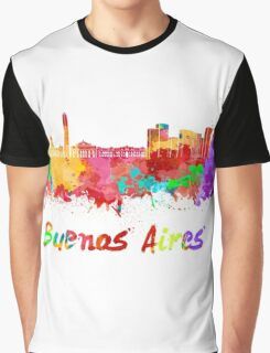 Buenos Aires skyline in watercolor Graphic T-Shirt