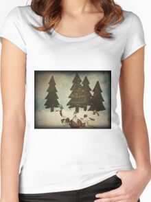 Merry Christmas (textured) Women's Fitted Scoop T-Shirt