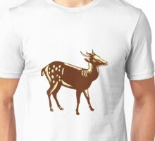 Philippine Spotted Deer Woodcut Unisex T-Shirt