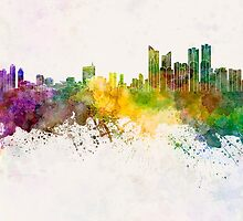 Busan skyline in watercolor background by paulrommer