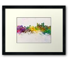 Busan skyline in watercolor background Framed Print