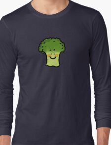 Cute veggie broccoli cartoon Long Sleeve T-Shirt