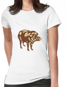 Philippine Warty Pig Woodcut Womens Fitted T-Shirt