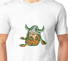 Viking Warrior Head Woodcut Unisex T-Shirt