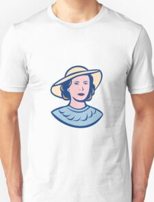 Woman Wearing Hat Isolated Retro T-Shirt
