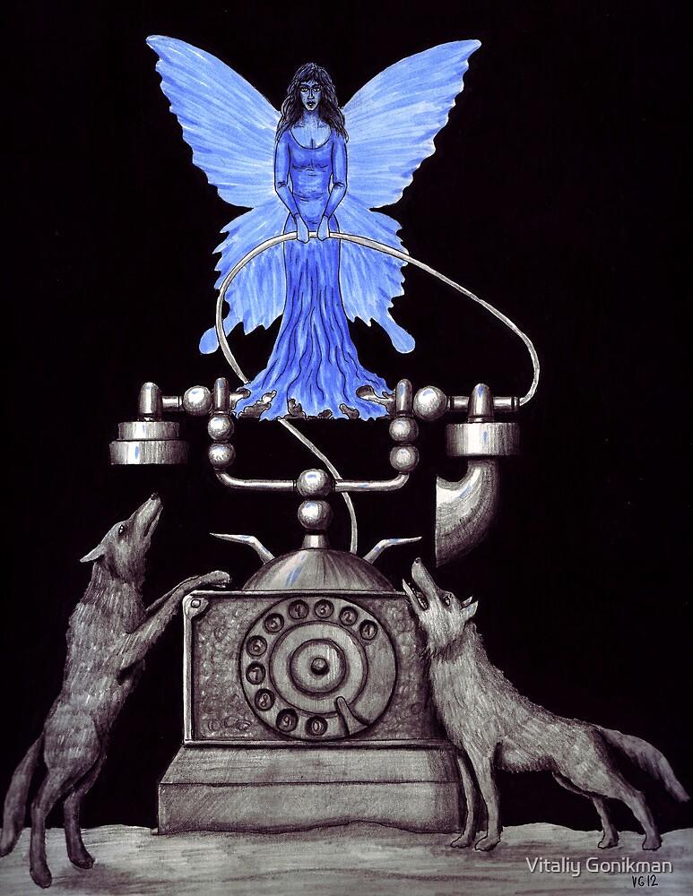 Telephone Fairy pen ink surreal drawing by Vitaliy Gonikman