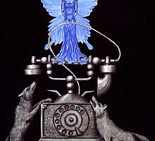 Telephone Fairy pen ink surreal drawing by Vitaliy Gonikman