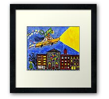 Flying taxi: Christmas time is in the air again! Framed Print