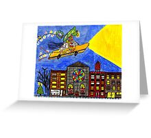 Flying taxi: Christmas time is in the air again! Greeting Card
