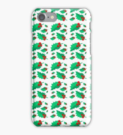 Vintage Christmas red green holly floral pattern  iPhone Case/Skin
