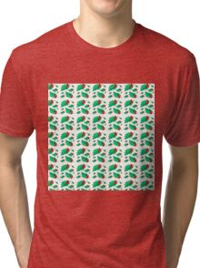 Vintage Christmas red green holly floral pattern  Tri-blend T-Shirt