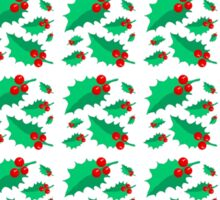 Vintage Christmas red green holly floral pattern  Sticker