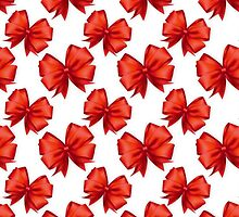 Trendy elegant girly red white cute bow pattern  by Maria Fernandes