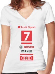 Audi R18 e-tron #7 LeMans Tribute Women's Fitted V-Neck T-Shirt