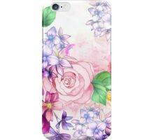 Vintage elegant pink watercolor trendy flowers iPhone Case/Skin