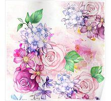 Vintage elegant pink watercolor trendy flowers Poster