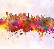 Calgary skyline in watercolor background by paulrommer