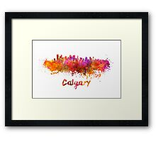 Calgary skyline in watercolor Framed Print