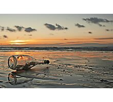 Message in a Bottle Sunset Photographic Print