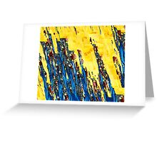 Blue Ribbons On Yellow Greeting Card