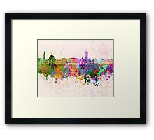 Cardiff skyline in watercolor background Framed Print
