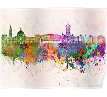 Cardiff skyline in watercolor background Poster