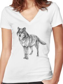 Grey wolf illustration Women's Fitted V-Neck T-Shirt