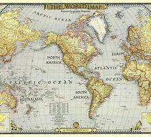 MAPS, WORLD VINTAGE MAP by fine-art-prints