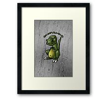 Grumpy green dinosaur in a bad mood Framed Print