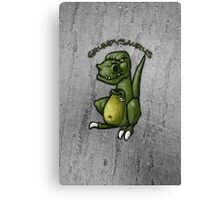 Grumpy green dinosaur in a bad mood Canvas Print