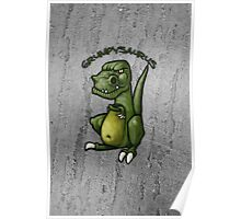 Grumpy green dinosaur in a bad mood Poster