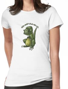 Grumpy green dinosaur in a bad mood Womens Fitted T-Shirt