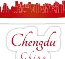 Chengdu skyline in red Sticker