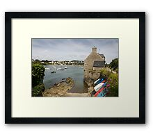 Colourful boats and yachts on a coastal river estuary, Le Conquet, Brittany, France Framed Print