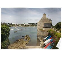 Colourful boats and yachts on a coastal river estuary, Le Conquet, Brittany, France Poster