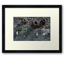 Fishing baskets, glass floats and nets, Brittany, France Framed Print