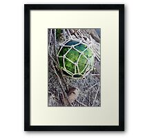 Traditional green glass fishing float and net, Brittany, France Framed Print