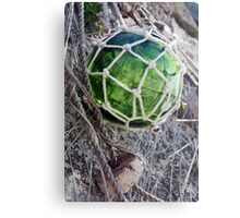 Traditional green glass fishing float and net, Brittany, France Canvas Print