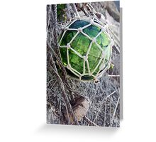 Traditional green glass fishing float and net, Brittany, France Greeting Card