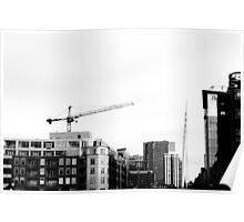 B&W Cranes and Buildings Poster