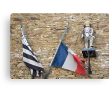 Seafaring figure with Breton and French flags, Brittany, France Canvas Print