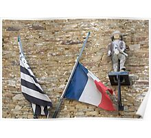 Seafaring figure with Breton and French flags, Brittany, France Poster