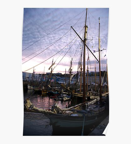 Tall ships in dock at sunset, Brest Maritime festival, France Poster
